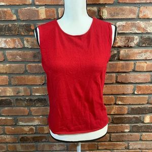 Eileen Fisher Red Crepe Sleeveless Shell Tank Cami